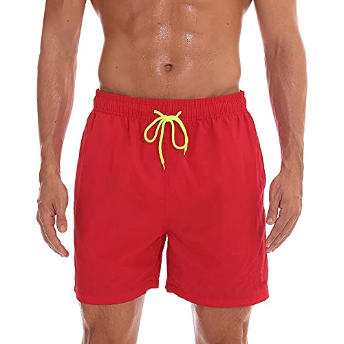 HSDFKD Pantalones Cortos para Hombre Shorts De Playa De Secado Rápido Shorts De Baño Sueltos, Rojo, XL