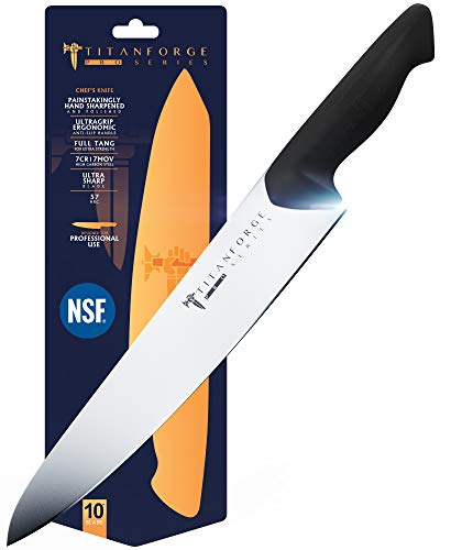 TITAN FORGE - Chef Knife 10' - Pro Series Knives - 7CR17MOV High-Carbon steel - Full Tang - NSF Certified