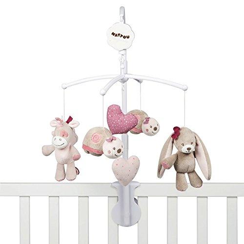 """Nattou Mobile mit Spieluhr Nina, Jade und Lili, Sanftes Wiegelied \""""La-Le-Lu\"""", 48 x 7 x 15cm, Beige/Rosa/ Weiß"""