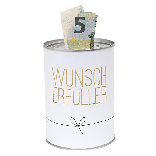 Dekohelden24 Metall-Spardose - Konservendose-Design - Motiv: Wünscherfüller - Ø 8,6 cm x H 12 cm