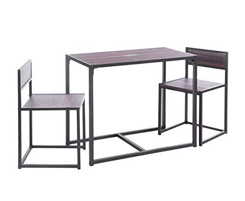 ts-ideen Juego de 3 Piezas para Cocina o Comedor Mesa de 60x45 cm con 2 Sillas en Aluminio y MDF Color Nogal