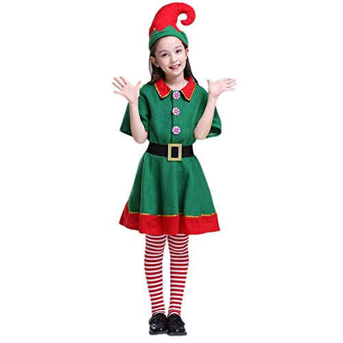 Kids Christmas Green and Red Elf Costumes Toyshop Santas Little Helper Festive Outfit elf Costumes for Kids (Girl, Large)