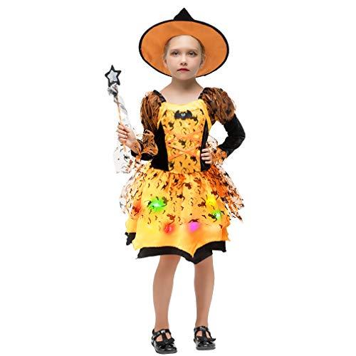 Gift Tower 4er Hexenkostüm Mädchen LED Hexenkleid Kinder Halloween Kostüm für Halloween Karneval Fasching Cosplay Kleid + Hexenhut + Beutel + Zauberstab Orange S/für 3-4 Jahre