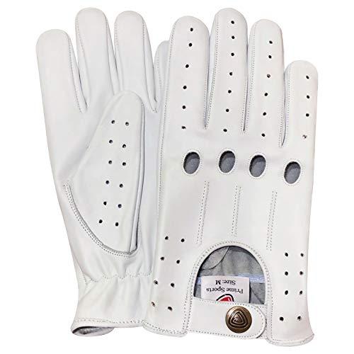 Prime Leather Gants De Conduite Classiques en Cuir Style à 4 Trous pour Hommes - Rouge et Blanc - Acrylique, M, Blanc