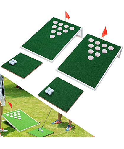 SPRAWL Golf Cornhole Beer Pong Set Board Mini Golf Practice Training Great Backyard Game for Your Family and Friends