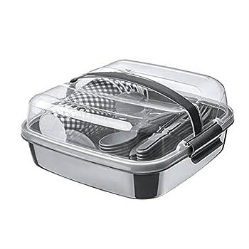 BEFA Set de pique-nique pour 6 personnes - Plastique sain sans BPA - Fourchette en plastique - Couteaux, cuillères, assiettes, gobelets - Panier de pique-nique (rouge)