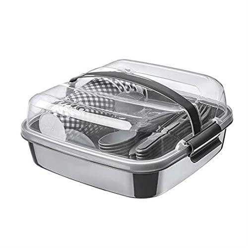 BEFA Juego de picnic para 6 personas, plástico saludable, tenedor, cuchillo, cuchara, plato, taza, cesta de pícnic, bolsa de picnic (rojo)