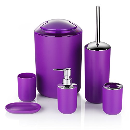 Zuvo 6 Pcs Plastic Bathroom Accessory Set Luxury Bath Accessories Bath Set Lotion Bottles, Toothbrush Holder, Tooth Mug, Soap Dish, Toilet Brush, Trash Can, Rubbish Bin (Purple)