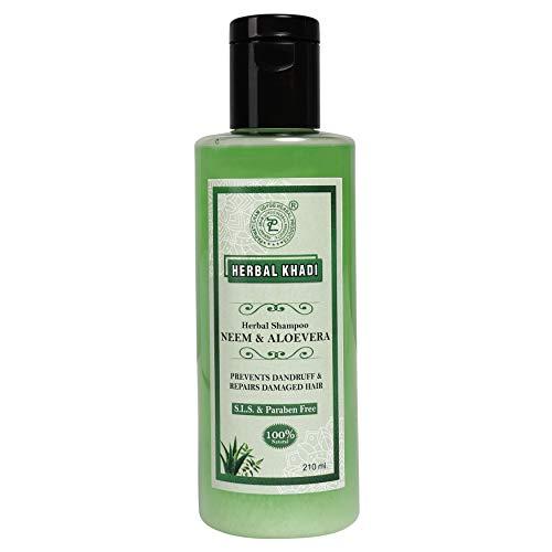 Herbal Khadi Neem Aloevera Natural Shampoo (No Sulphate & Paraben) Anti Dandruff/Anti Fungual, Scalp Healer Hair fall Control 210 ml (Pack of 2) Men & Women