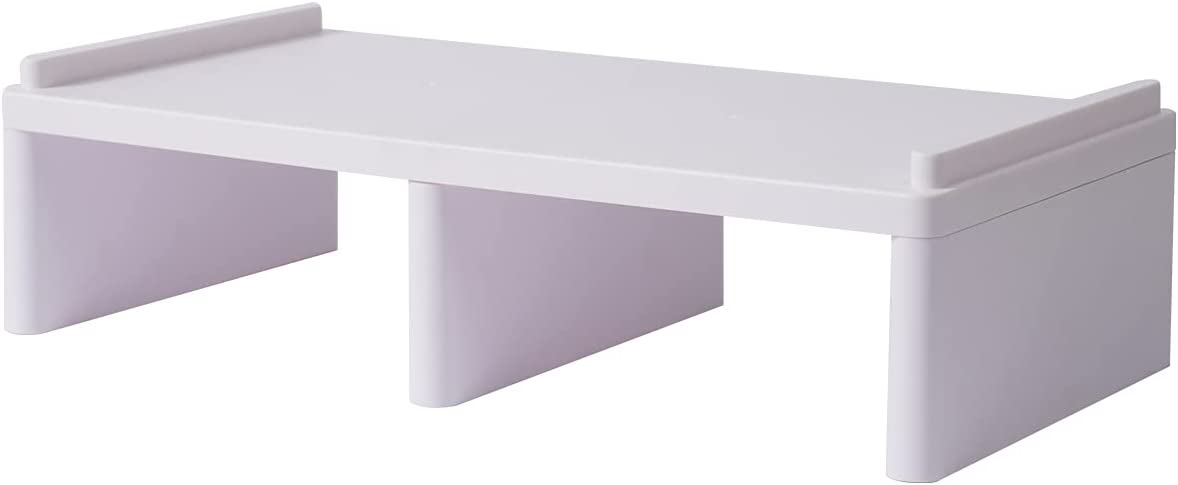 LAJAR Monitor Stand Computer Riser Desk Shelf Storage, Desktop Stand Organizer for Office Home (White)