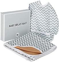 Baby Splat Mat for Under High Chair Floor Mat - Baby Feeding Set, Splash Mat, Waterproof Floor Mat - Anti Slip, Washable, Extra Large (51 Inch) + Baby Bib with Sleeves – Chevron