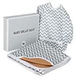 Baby Splat Mat for Under High Chair Floor Mat - Baby Feeding Set, Splash Mat, Waterproof Floor Mat - Anti Slip, Washable, Extra Large (51 Inch) + Baby Bib with Sleeves – Chevron