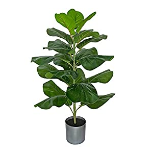 BESAMENATURE Artificial Fiddle Leaf Fig Tree/Faux Ficus Lyrata for Home Office Decoration, 30.5″ Tall, Ships in Gray Planter