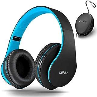Zihnic - Auriculares inalámbricos con graves profundos, Bluetooth y con cable, micrófono para teléfono celular, TV, PC, orejeras suaves y ligeras para un uso prolongado (negro/azul)
