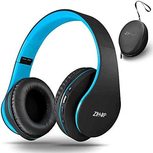 딥베이스 블루투스 와이어드 스테레오 헤드폰이 장착된 무선 오버 이어 헤드셋은 휴대폰 TV PC 소프트 에머프 및 지닉(BLACK | BLUE)의 장기 착용을 위한 경량 제품으로 MIC에 구입한다
