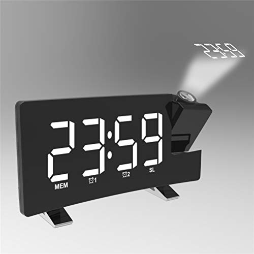 LBPF Projektion Wecker Radio, Uhr Digital LED Projektor Timer Hintergrundbeleuchtung Lautsprecher Home, Digitaluhr Für Schlafzimmer, Multifunktionsbettzeitanzeige,Weiß