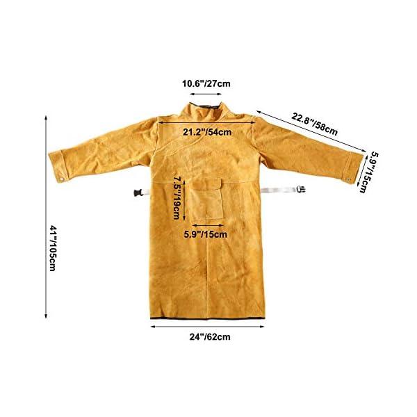 "41"" Long Cowhide Leather Welding Jacket 3"
