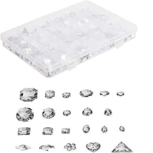 MWOOT 700 Piezas Diamantes de Acrílicas para Decorar Prendas Ropa Manualidades, Kit de Piedras Decorativas (Varios Tamaños y Formas) con Tijera de Costura, Agujas y Cordón, Gemas transparentes