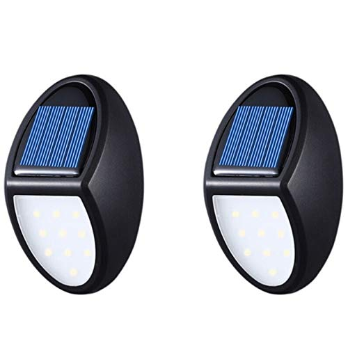 SODIAL 2 Pack Capteur Solaire LumièRes Applique Murale 10 LED LumièRes éTanche éClairage ExtéRieur pour Cour Jardin Jardin