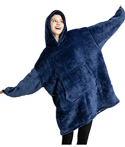 Wearable Blanket Hoodie, Comfy Oversized Giant Sherpa Fuzzy Hooded Sweatshirt, Big Fluffy Cozy Sweater, with Sleeves and Pocket, One Size Fits All, for Adults, Women and Men Navy