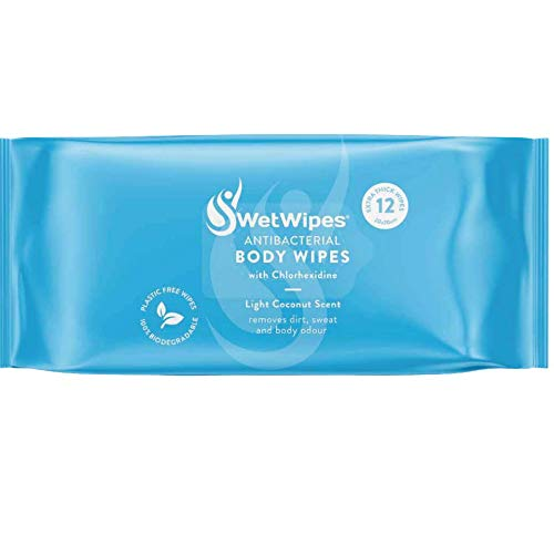 SwetWipes Antibacterial Biodegradable Wipes –Luxurious Body Wipes - Chlorhexidine - Large Bed Bath, No Rinse, Coconut Scent - Anti Odour - Shower Wipes - Skin Care - 12 Pack