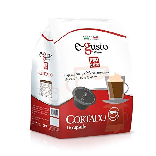 Pop Caffe' E-Gusto Cortado - Compatibili Dolce Gusto, 16 capsule da 16 g