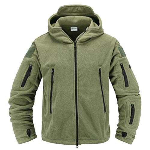 Memoryee Herren Military Fleece Outdoor Jacke Tactical Hoodies Winddicht Wasserdicht Ideal f¨¹r Sport, Arbeit und Freizeit/Gr¨¹n/XL