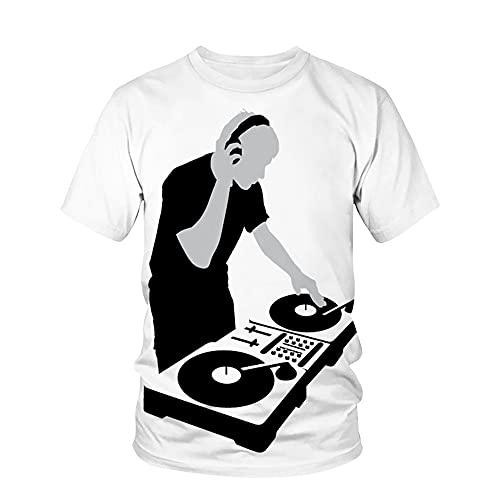 Shirt Hombre Verano Básico Cuello Redondo Personalidad Manga Corta Hombres T-Shirt Estilo Hip Hop 3D Tendencia Creativa Imprimir Hombres Ocio Shirt Novedad Moda Hombres Streetwear T24845 XL