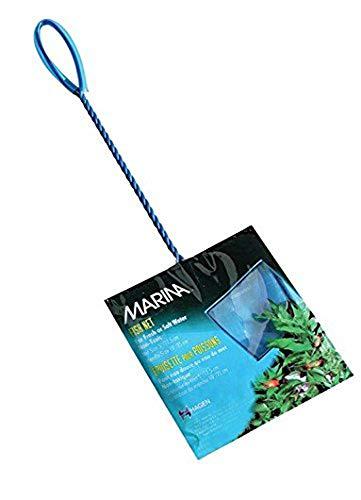 Hagen Fischfangnetz Aquarien Aquarium Kescher Netz blau fein 15cm breit und 13cm hoch Grifflänge 30cm