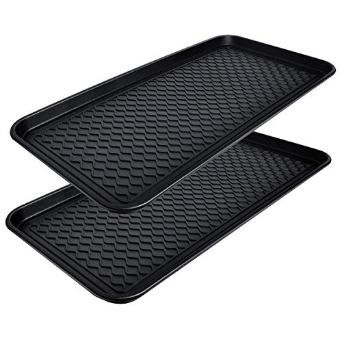 """CHAIRLIN 2 Packs Waterproof Large Shoe Tray, All Purpose in Door and Out Door Boot Mat for Entryway Pet Food Tray Floor Protection Durable Shoe Organizer 30"""" x 15"""" x 1.2"""""""