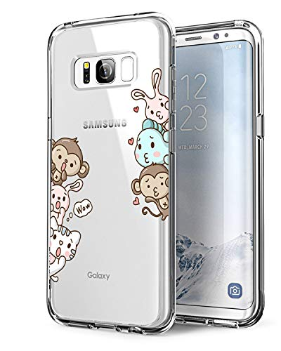Alsoar Coque Samsung Galaxy S8, Bumper Housse Etui [Liquid Crystal] Ultra Mince Protection Premium TPU Silicone Premium Transparent/Exact Fit/Souple pour Samsung S8 (Lapin et Singe)