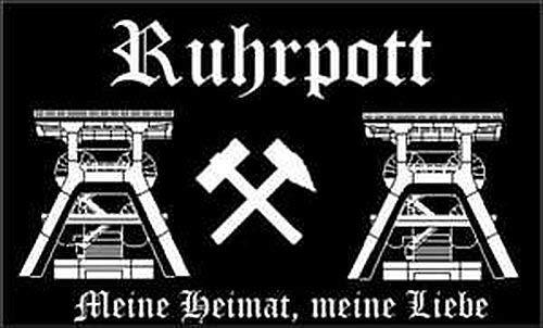 Ruhrpott Schwarz Fahne Flagge Hißfahne Fanfahne 90x150 cm Hissflagge Pott Kohle Heimat Flag