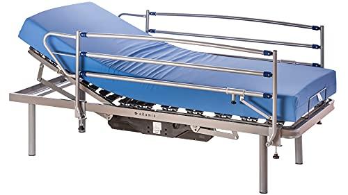 ekamia - Cama Articulada Eléctrica Eris + Colchón Sanitario HR + Barandillas y Patas de 35cm - 105cm x 190cm, Mando inalámbrico