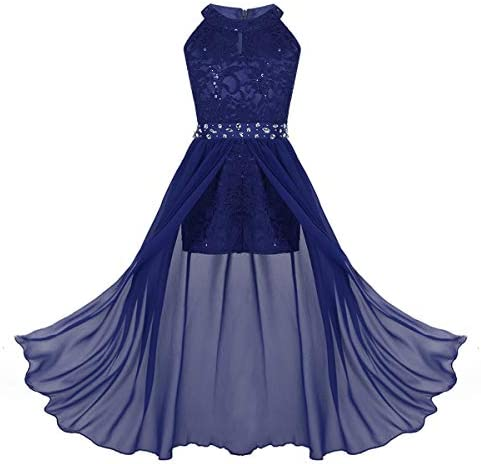 iEFiEL Junior Big Girls High Neck Chiffon Bridesmaid Dress Wedding Party Ball Prom Long Gowns product image