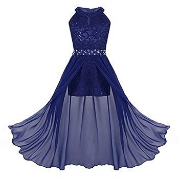 ranrann Kids Girls Sleeveless Floral Lace Shiny Rhinestone Maxi Dress Birthday Party Formal Dance Romper Gown Blue 13-14