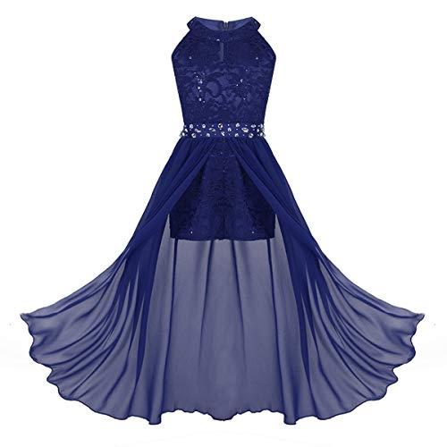 iEFiEL Sweet Prinzessin Lace Blumenmädchenkleider für Hochzeits Brautjungfern Festzug Partei Festliches Kleid Kinder Overall Jumpsuit Gr. 116-164 Blau 128