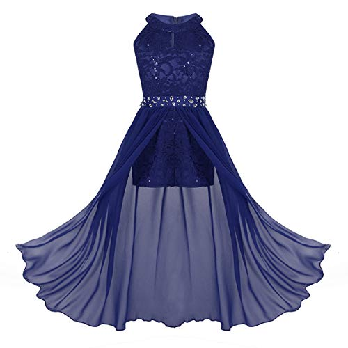 iiniim Kids Big Girls High-Neck Maxi Romper Dress Junior Bridesmaid Wedding Flower Dress Party Evening Long Gown Royal Blue 14