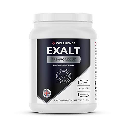 Exalt Pre-Workout with Citrulline Malate, Caffeine, Beta-Alanine, Taurine, AKG and BCAA | 32 Servings | N.O. Production | WellHence Nutrition | Blackcurrant Burst