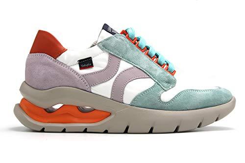 CALLAGHAN - Zapato Deportivo Casual, Sneakers con Cordones, Zapatillas cuña y Plataforma. Fabricado en Piel, para: Mujer Color: Aqua Talla:38