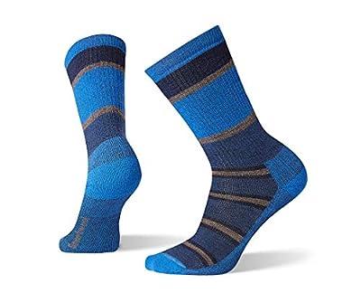 Smartwool Hiking Crew Socks - Men's Striped, Medium Cushioned Wool Performance Sock ALPINE BLUE Large
