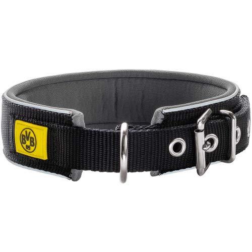HUNTER NEOPREN REFLECT BVB Hundehalsband, Nylon, Neopren gepolstert, reflektierend, 55 (M-L), schwarz/gelb