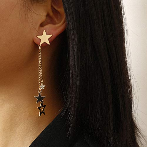 Chargances Stars Tassel Earrings for Women and Girls Stud Jewelry Dainty Tassel Jewelry for Special Occasion (Gold)