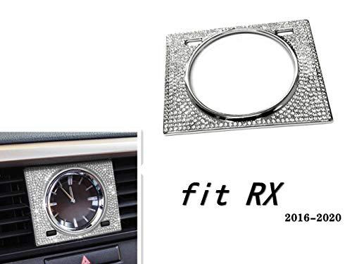 NIUHURU Car Interior Trim Watch Clock Rhinestone Crystal Decals Bling Accessories fit for Lexus RX 350 450 2016-2020 (Silver)