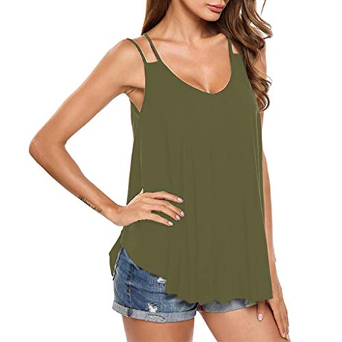 Buy Startview Women's Flowy V Neck Casual Sexy Summer Tank Top Sexy Blouse (Green, XL)