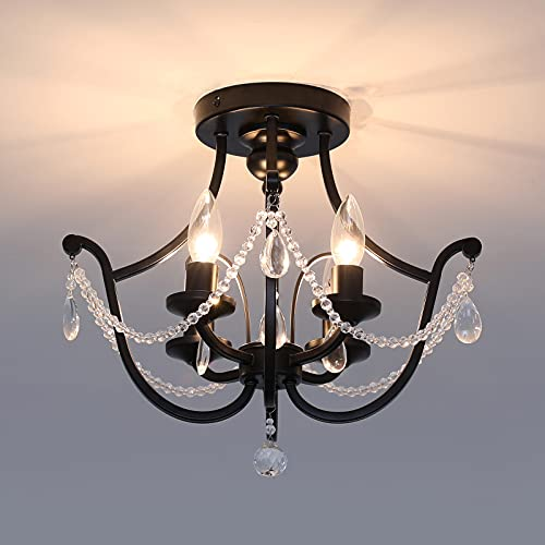 4-Lights Crystal Chandelier, Semi Flush Mount Ceiling Light Fixture,Rustic Ceiling Lamp for Farmhouse Island Passageway Foyer Kitchen Liviing Room Dining Room ( Black )