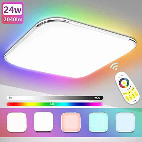 Hengda Led Deckenleuchte RGB 24W Dimmbar Deckenlampe mit Fernbedienung, Lampe für Schlafzimmer Kinderzimmer Wohnzimmer Flur Küche Büro Modern IP44