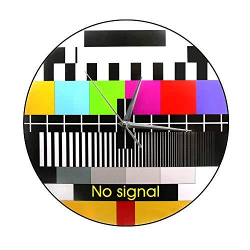 Wjlytf Retro TV Farbtest Bildschirm gedruckt Holz Wanduhr Hintergrundanpassung Signal Moderne Wanddekoration Kein Signal TV Wanduhr 30cm
