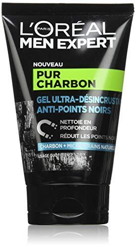 L'Oréal Men Expert - Gel Ultra-Désincrustant Anti-Points Noirs pour Homme - Soin du Visage - Pur Charbon - 100 ml