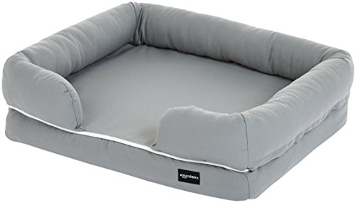 Amazon Basics Memory Foam Bolster Dog Bed, Small (25 x 20 Inches), Grey
