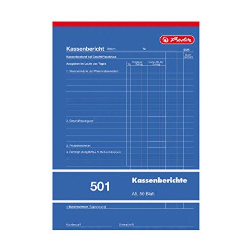 Herlitz Kassenberichtsblock A5, 1 Stück, 50 Blatt